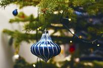 圣诞节蓝色挂饰