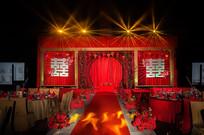 红色中式新婚现场布置