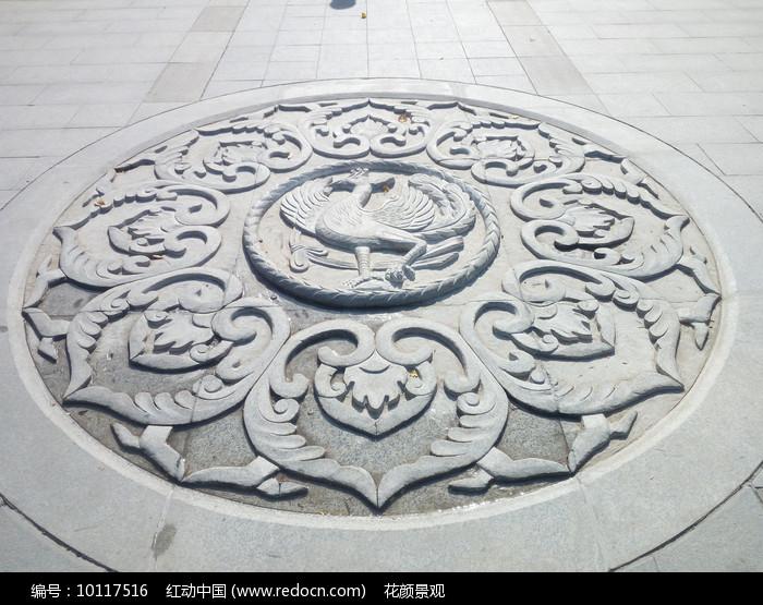 花岗岩地面浮雕拼花铺装图片