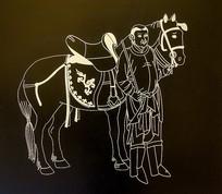 人物和马石刻像