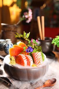 海鲜三文鱼拼盘摄影图