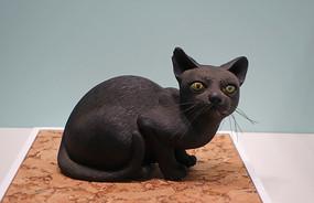 清代云屿氏款素胎猫