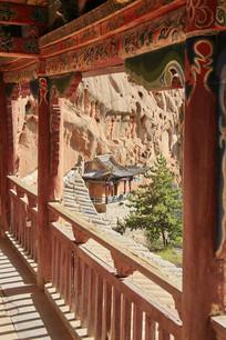 马蹄寺彩绘阁楼走廊