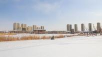 新中式小区雪景