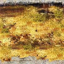 黄色稻田抽象油画