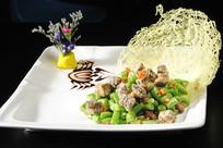 榄菜四季豆炒鹅肝