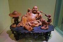 黄杨木雕《六子戏弥勒》