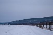 黑龙江上中俄国境线雪景