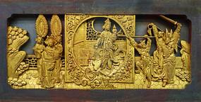 东阳木雕金漆戏剧人物纹花板