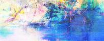 蓝色抽象油画