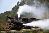 穿行在山谷中的蒸汽机车