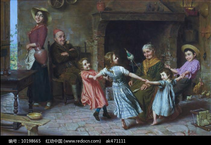 快乐的游戏油画图片