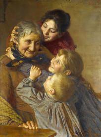 奶奶和孙女油画