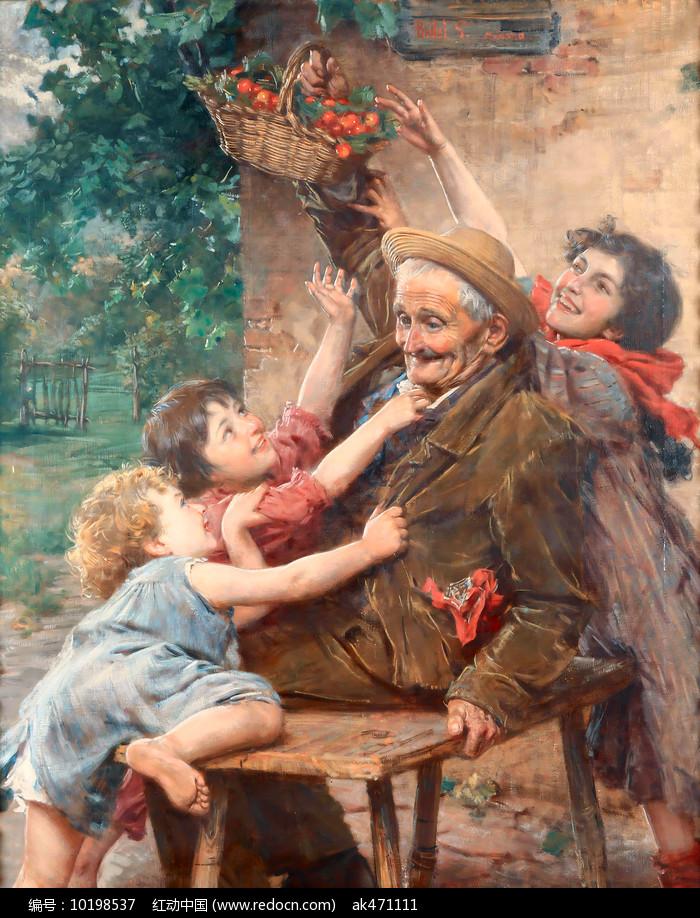 爷爷和孙女油画图片