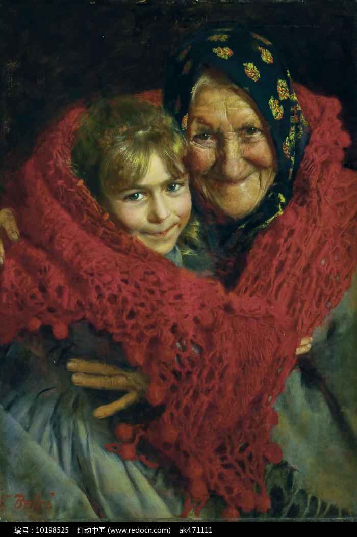 祖母与孩子油画图片