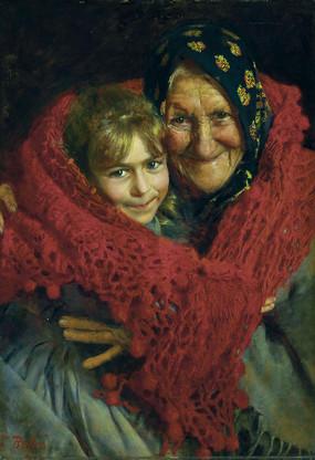 祖母与孩子油画