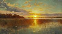丹麦峡湾日落时的霞光油画
