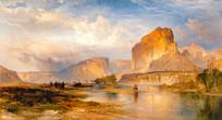 怀俄明州绿河的悬崖油画