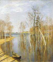 列维坦油画-春潮
