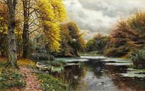 蒙斯特河景观油画