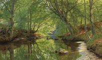 森林溪流油画