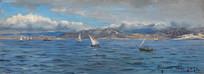 直布罗陀海峡油画