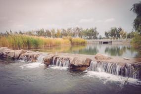 景观河水流瀑布