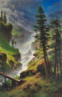 落基山瀑布油画