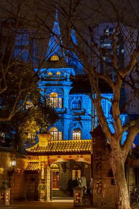 马勒别墅饭店进口蓝色夜景