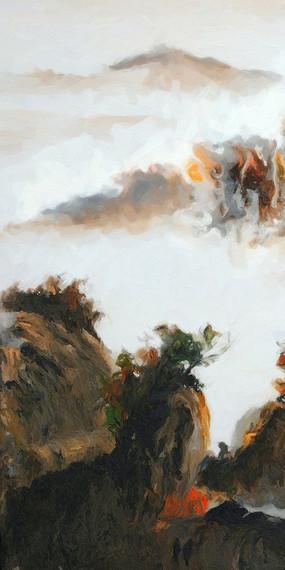 竖版中国风格壁画