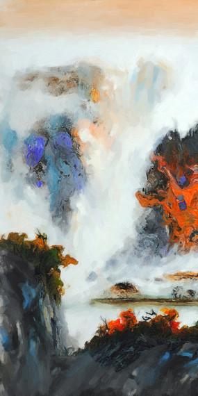 竖版中国风格山水画