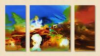 抽象艺术无框画三联组合画