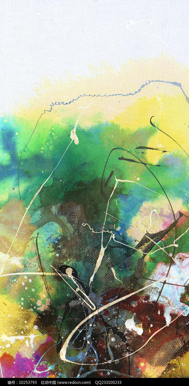 电梯间壁画手绘抽象油画图片