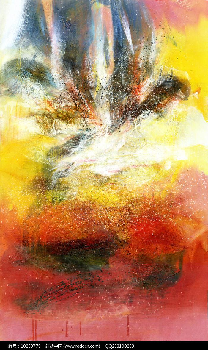 手绘抽象油画竖版壁画图片