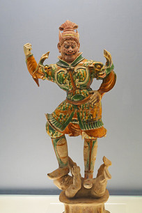 唐代彩色釉陶天王俑