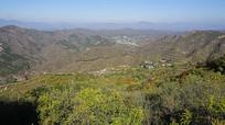 春天的绿树环抱的山峰