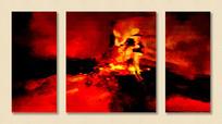 三联抽象无框画壁画