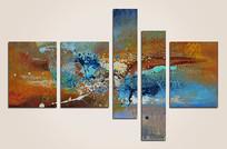 五联装饰抽象画