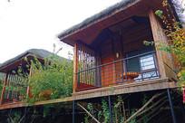 莫干山旅游景区乡村民宿茅草木屋