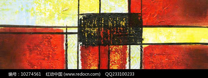 手绘现代色块抽象油画图片