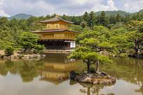 日本京都金阁鹿苑寺金阁湖景