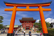 京都伏见稻荷大社鸟居与楼门
