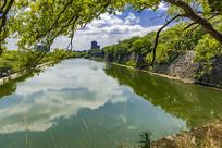 日本大阪城东外护城河景
