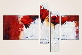 四联花卉抽象无框画