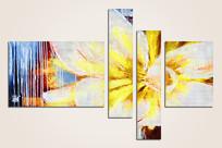 四联组合装饰花卉画