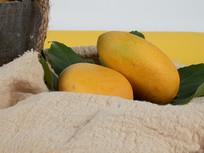 黄色背景下的芒果