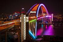 卢浦大桥调试中彩虹灯光秀
