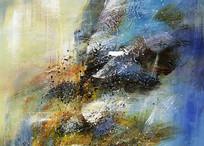 蓝色调抽象艺术装饰画