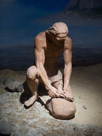 史前古代人获取食物场景雕塑