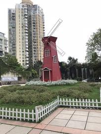 红色风车景观